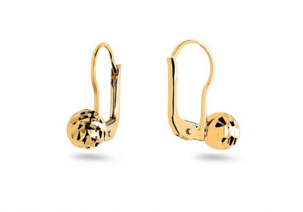 Gold engraved earrings balls