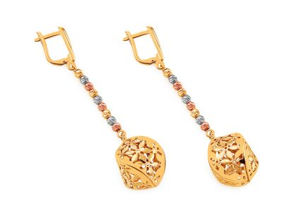 Gold two tone patterned earrings