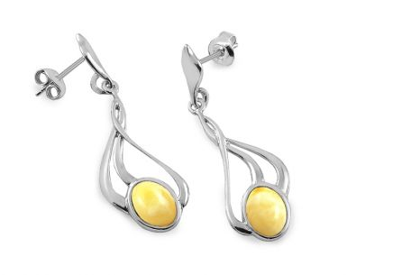 Elegant silver earrings with yellow amber