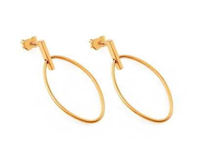 Gold hanging oval earrings