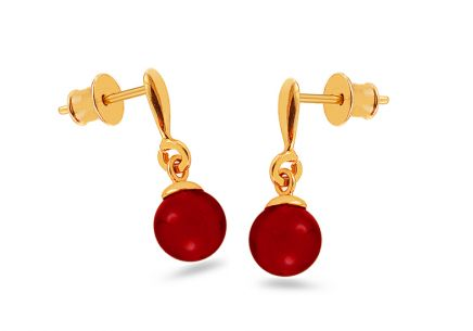 Gold-plated silver earrings with cherry red amber balls