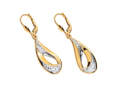 Two-tone Gold hanging earrings with pattern
