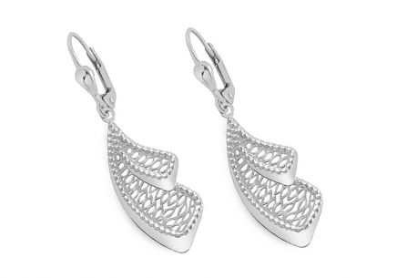 White gold hanging earrings