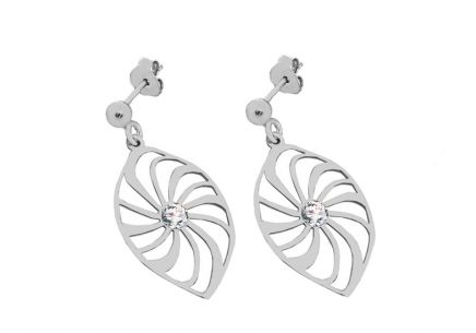 Silver earrings flower with cubic zirconia 2