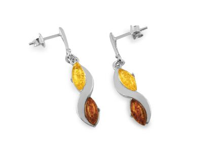 Silver stud earrings with bi-color amber