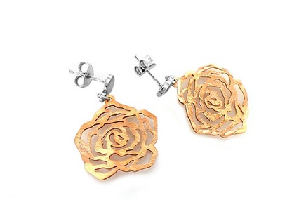 Sterling Silver earrings with rose pink gold-plating rose design