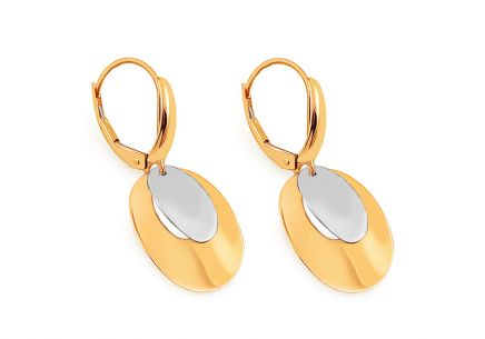 Two Tone Gold Dangle Earrings
