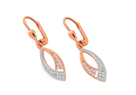 Two-tone hanging rose gold earrings with zircons
