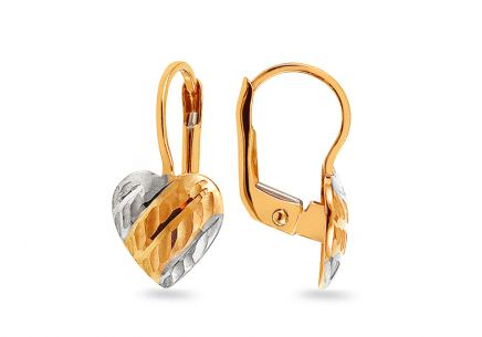 Gold Heart earrings with engraving