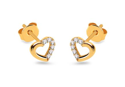 Gold heart earrings with zircons