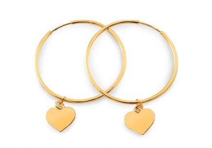 Gold plated silver hoop earrings with heart charms
