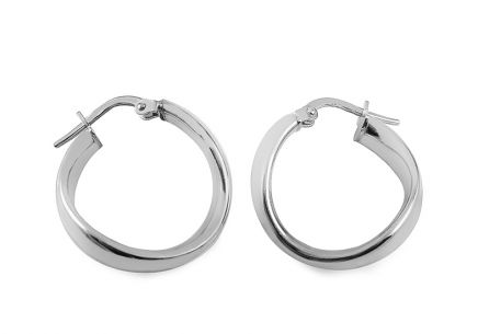 Rhodium plated Silver earrings ring