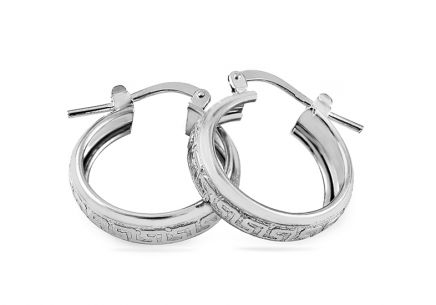 Silver hoop earrings with antique pattern