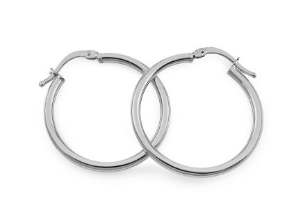 Rhodium plated Silver earrings 2.5 cm
