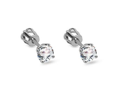 White gold earrings with zircons