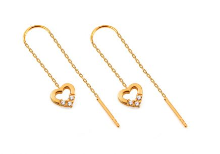 Gold heart hanging earrings