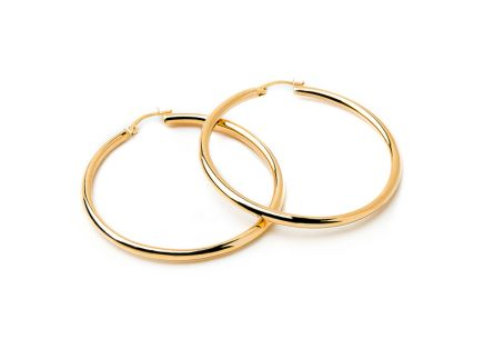 Gold two-tone loop earrings 3 cm