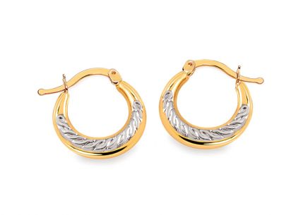 Earrings made of mixed gold rings with a structured pattern 1 cm