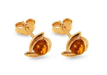 Gold Amber Earrings