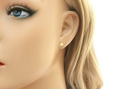 Gold stud round earrings