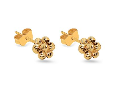 Gold bead stud earrings