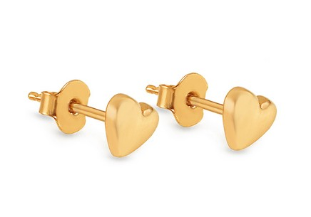 Gold Stud Earrings Hearts