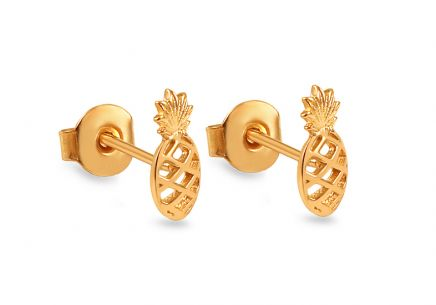 "Gold Stud Earrings ""Pineapples"""