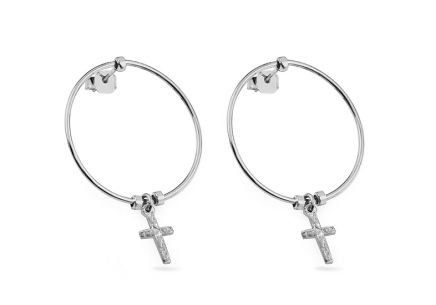 Silver hoop earrings with cross