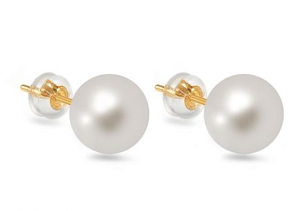 Gold Earrings with White Pearls
