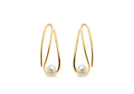 Gold earrings with white pearls 3 mm
