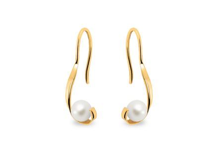 Gold earrings with white pearls 4.5 mm