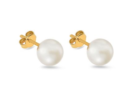 Gold pearl earrings 6.5 mm