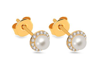 White Pearl earrings decorated with cubic zirconia on Gold-plated 925Sterling Silver