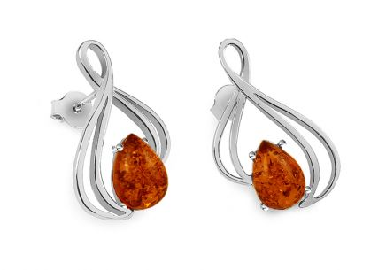 Elegant silver earrings with amber