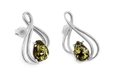 Elegant silver earrings with green amber