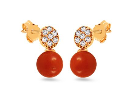 Gold coral stud earrings with zircons