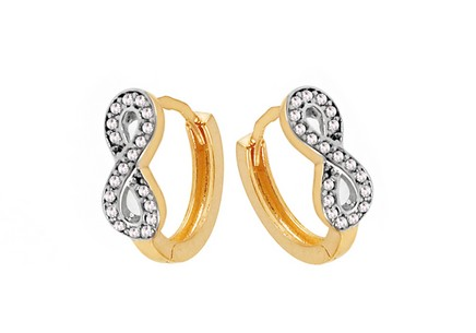 Gold Cubic Zirconia Infinity Earrings