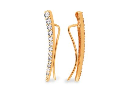 Gold ear climber earrings with zircons