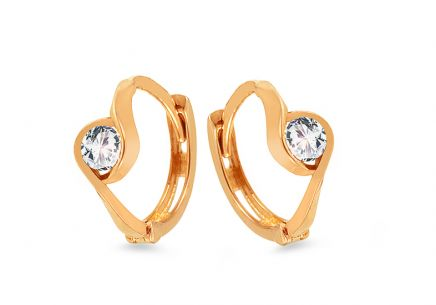 Gold Earrings Rings with Zircons