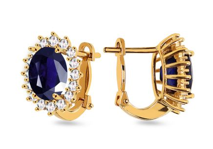 Gold earrings with dark blue stone