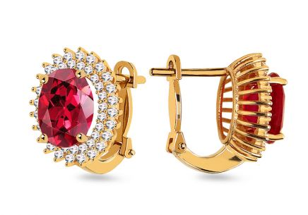 Gold earrings with red stone