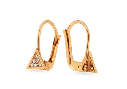 Gold earrings with zirconia triangles