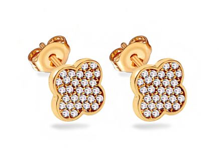 Gold four leaf clover stud earrings with zirconia