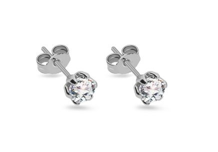 Gold stud earrings with zircon