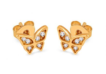 Gold butterfly stud earrings with zircons