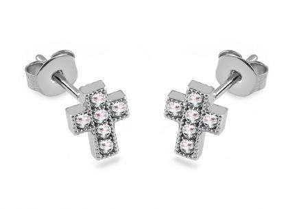 White gold Cross stud earrings with zircons