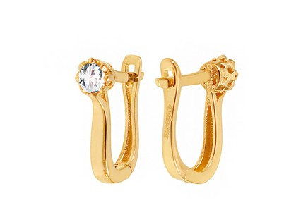Gold Solitaire Zircon Earrings