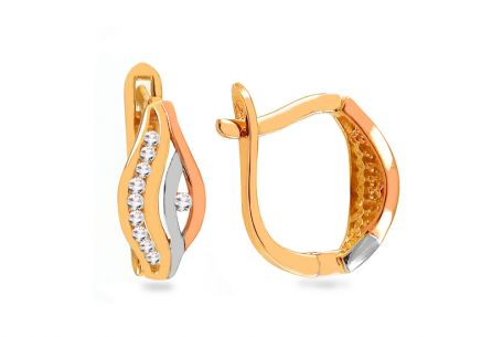 Gold tri-tone earrings with zircons
