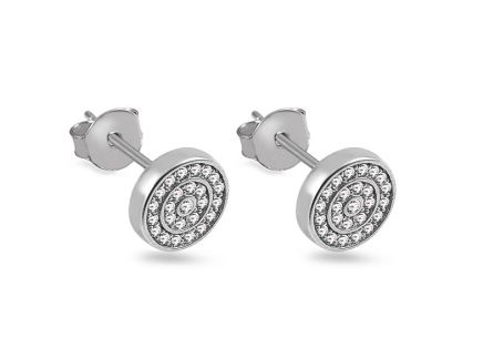 Rhodium plated 925Sterling silver earrings with cubic zirconia
