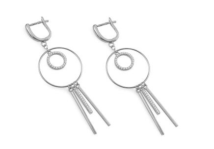 Rhodium plated Silver dangling earrings with Cubic zirconia (CZ)